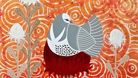 Painting by Cheryl Davison title Wonga and the waratah