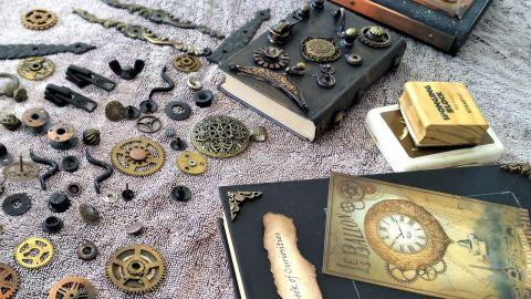 Photo of metal craft materials and books