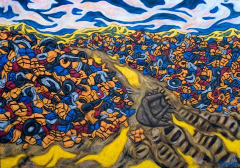 Lifejacket mountain artwork by Lachie Hinton